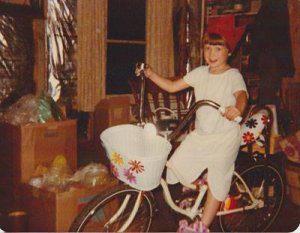 Lori King new bike with banana seat on 6th-birthday
