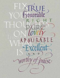 Fix your thoughts on what is true, honorable, right, pure, lovely, admirable, excellent and worthy of praise.