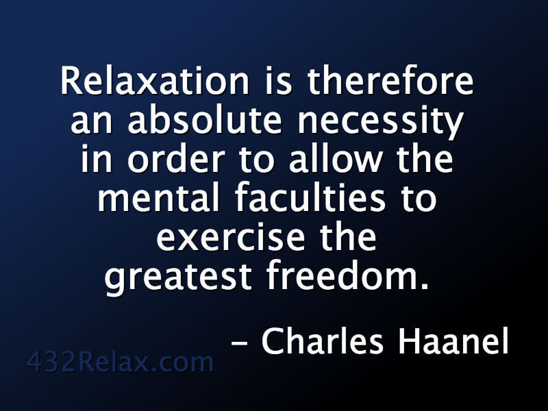 Relaxation is necessary